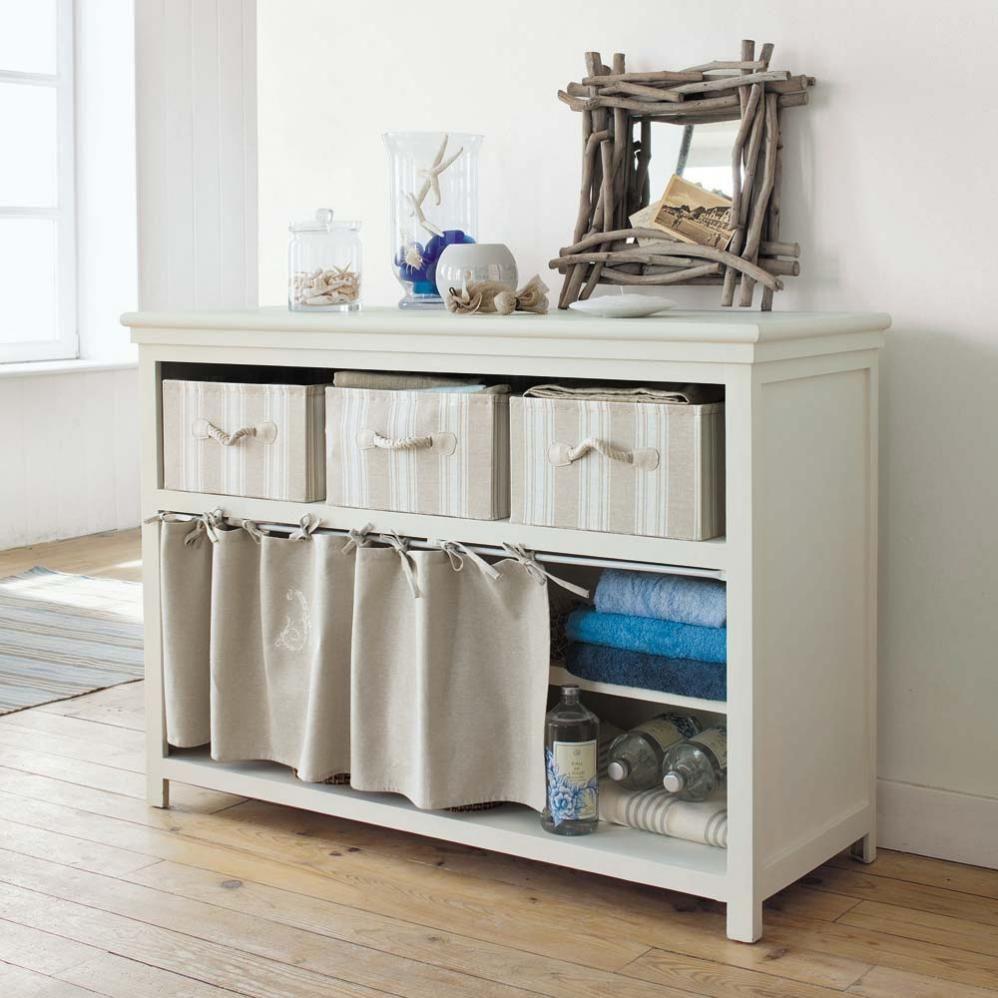 Table console en bois ivoire l 120 cm manosque maisons - Console beton maison du monde ...