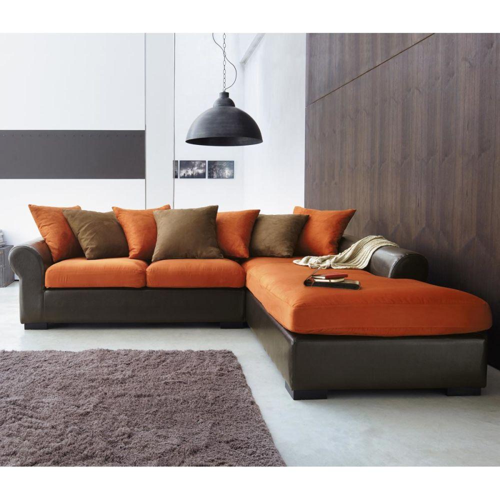 Canap convertible orange chocolat univers canap - Canape d angle orange ...