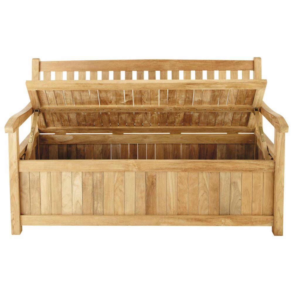 Banc avec rangement de jardin 2 3 places en teck massif l 151 cm la rochelle - Banc coffre de rangement bois ...