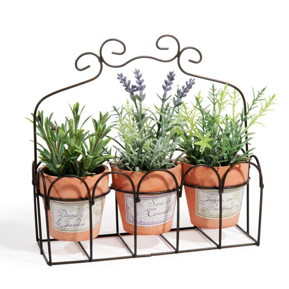 Ensemble de 3 plantes artificielles en pot h 22 cm for Plantes artificielles