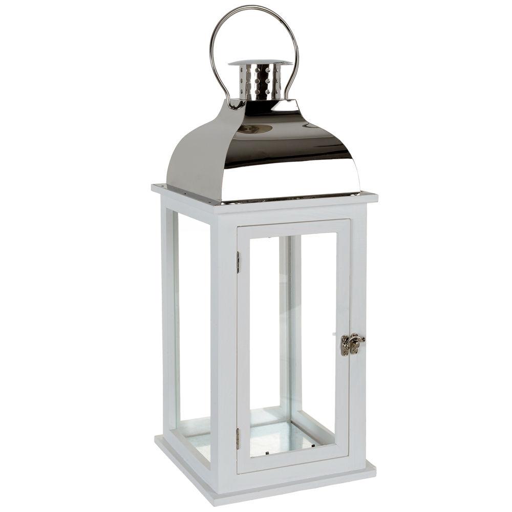 Lanterne smart blanche acier maisons du monde for Photophore maison du monde