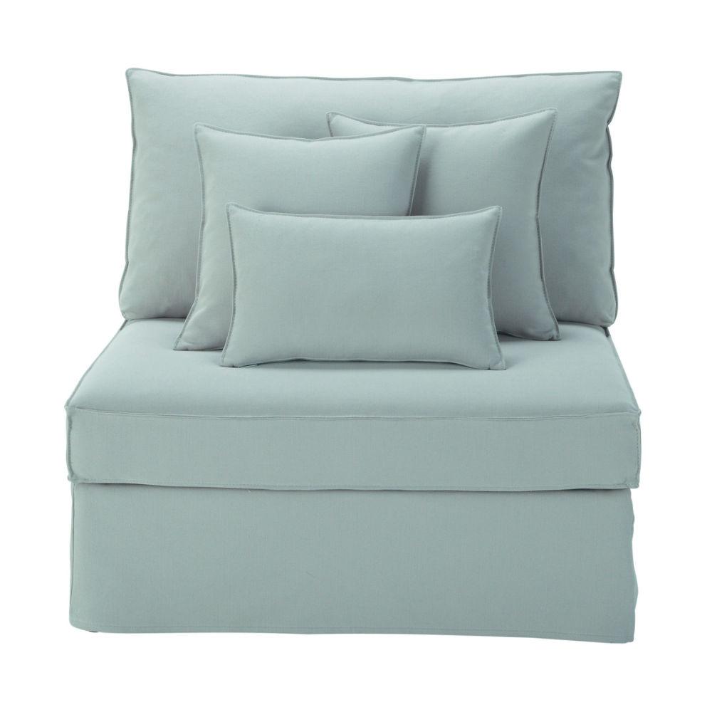 Lage fauteuil voor zitbank in blauwgrijs linnen enzo enzo maisons du monde - Zitbank cabriolet ...