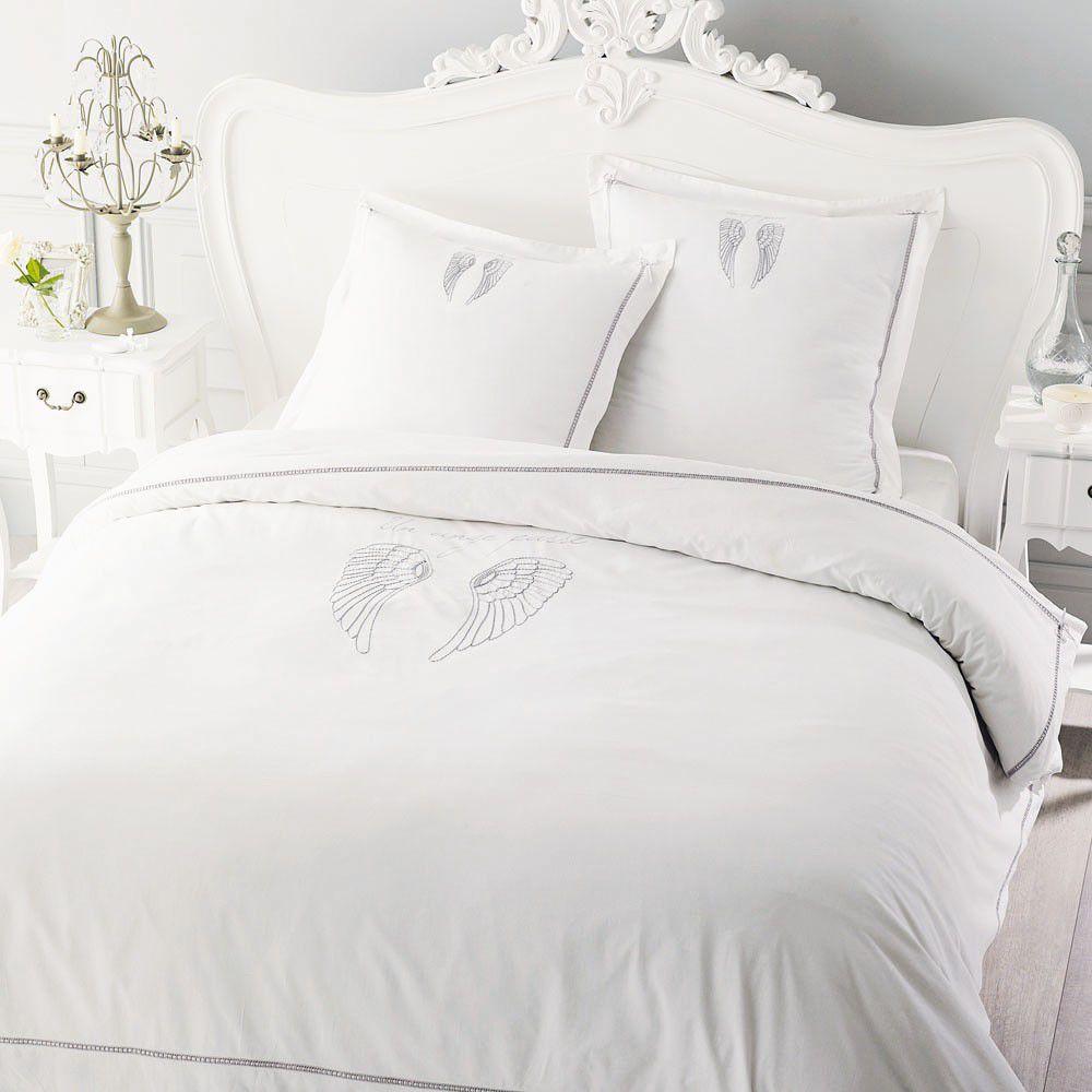 Parure de lit 220 x 240 cm en coton blanche ANGE | Maisons du Monde