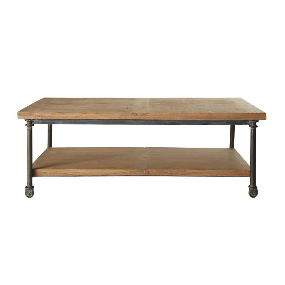 Table basse roulettes en manguier et m tal l 135 cm for Table basse maison du monde