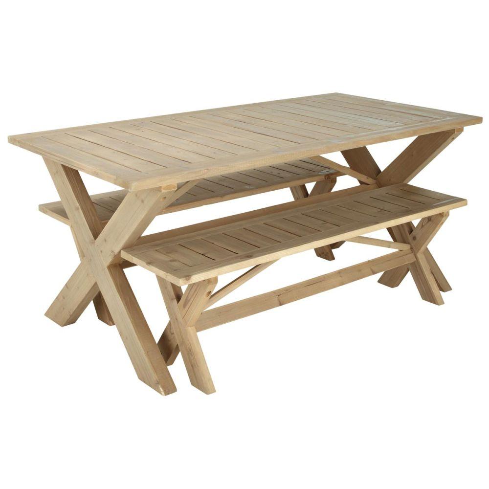 Table de jardin rectangulaire bois lacanau maisons du monde - La maison de la table ...