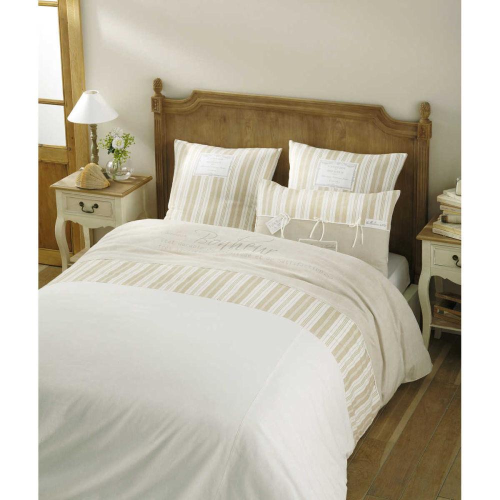 Parure housse de couette bonheur 260x240 for Linge de lit maison du monde