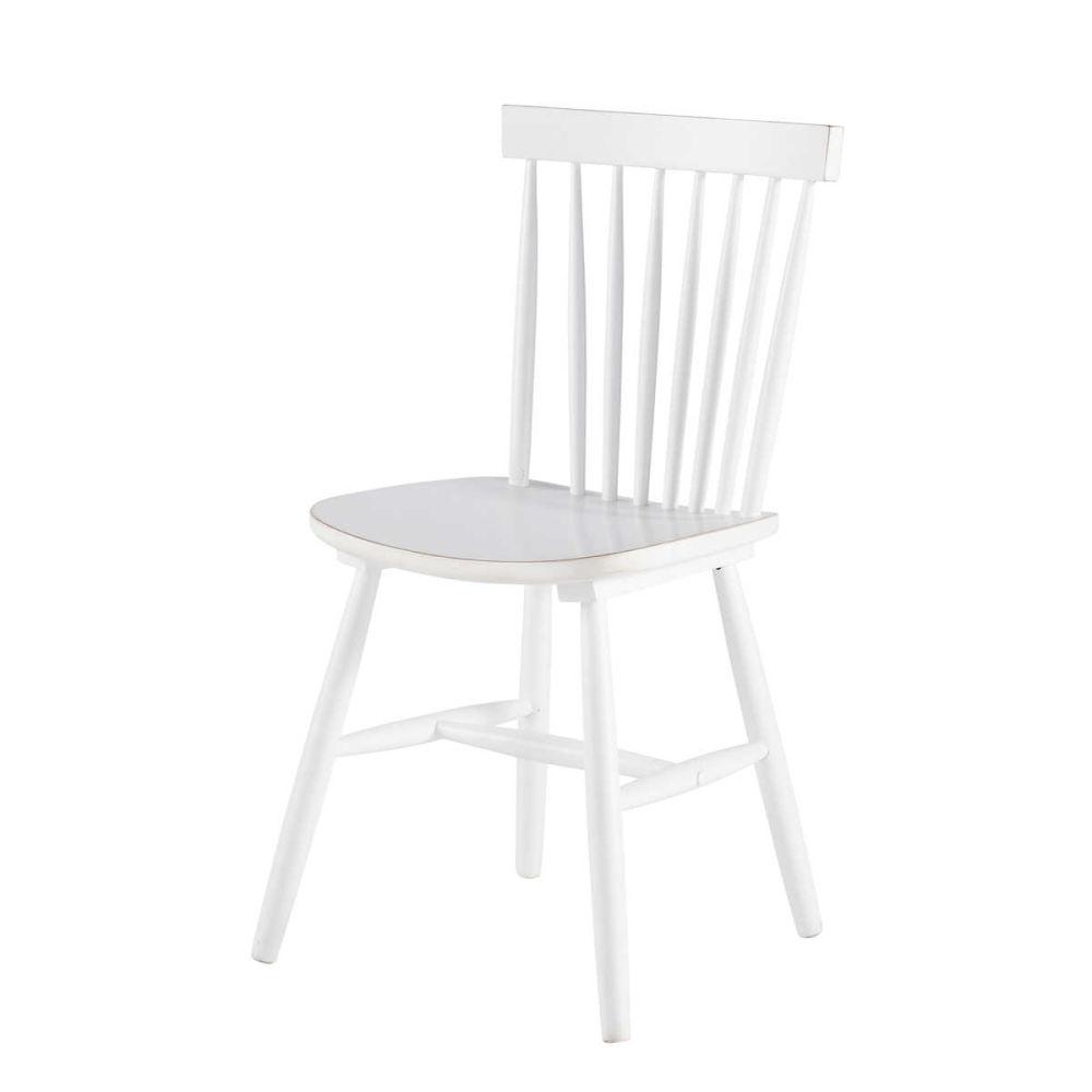 Stuhl im Vintage-Stil aus Kautschukbaum, weiß Fjord   Maisons du Monde