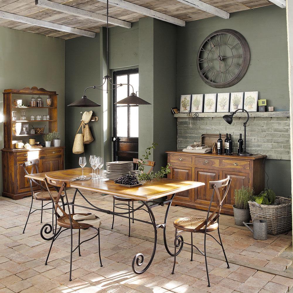Table de salle à manger en bois de sheesham massif et fer forgé L 180 cm Lubé -> Meubles Luberon