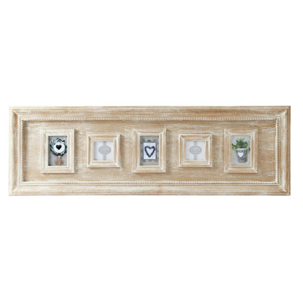 cadre photo multivues en bois de paulownia 42 x 130 cm. Black Bedroom Furniture Sets. Home Design Ideas