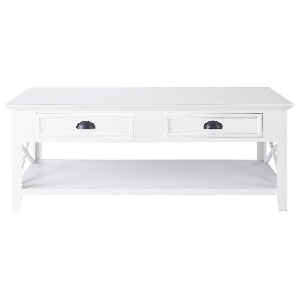 table basse en pin blanc l 120 cm newport maisons du monde - Table Basse Blanc Style Marin