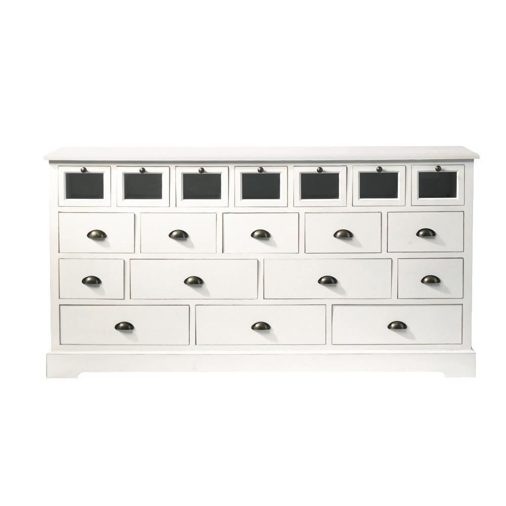 Grainetier multi tiroirs en bois de paulownia blanc l 180 for Comptoir du meuble bruxelles