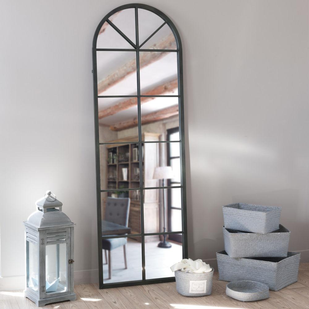 miroir en m tal noir h 180 cm achille maisons du monde