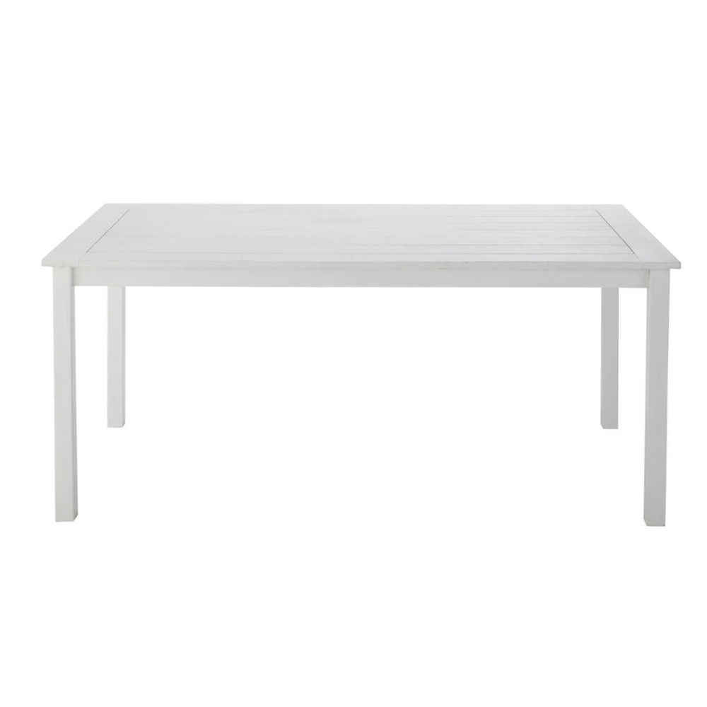 tavolo bianco da giardino in acacia l 180 cm port blanc | maisons ... - Tavolo Da Giardino In Legno Bianco