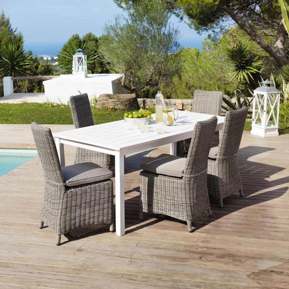 Table de jardin blanche rectangulaire port blanc maisons du monde - Table jardin blanche lille ...