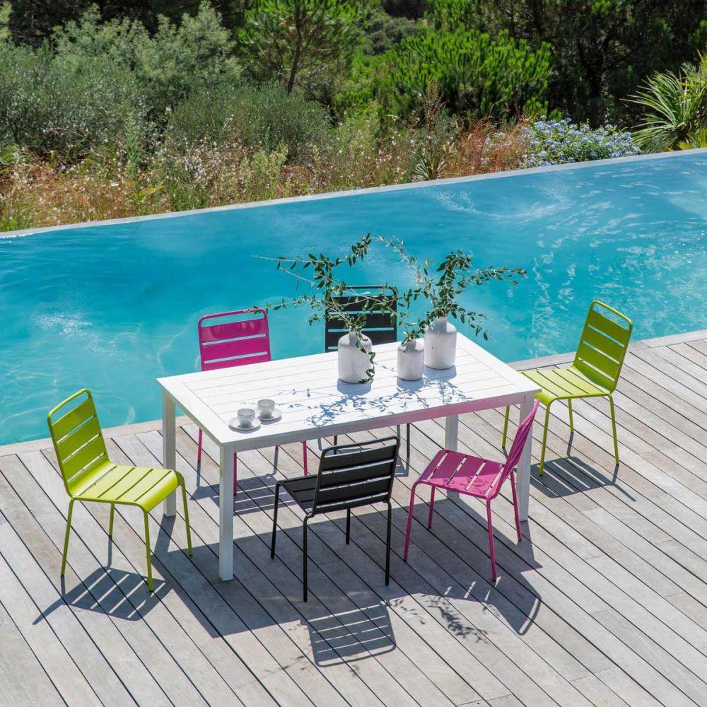 Table de jardin blanche rectangulaire port blanc maisons du monde - Table jardin blanche ...