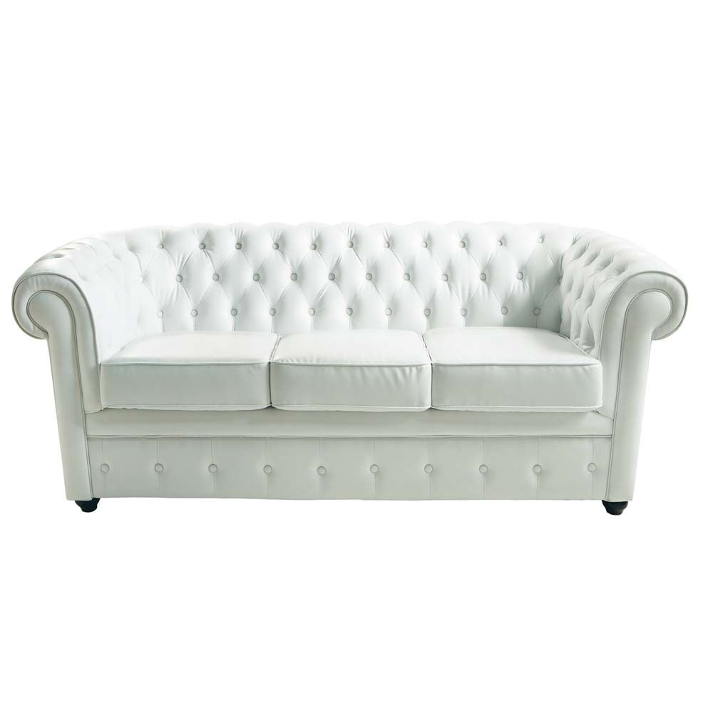 Canap capitonn 3 places en cuir blanc chesterfield for Canape chesterfield cuir occasion