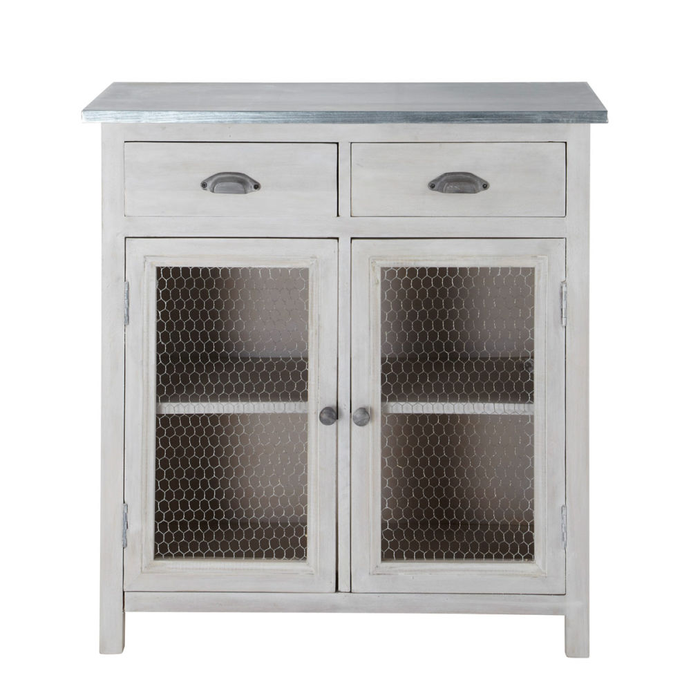 garde manger en manguier massif gris l 80 cm zinc. Black Bedroom Furniture Sets. Home Design Ideas