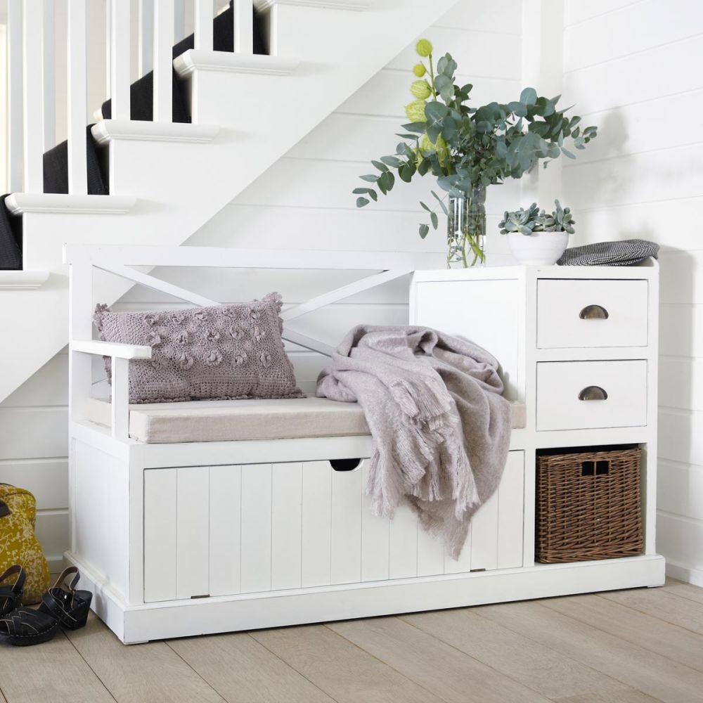 Meuble d 39 entr e en bois blanc l 135 cm freeport maisons for Meuble d entree banc