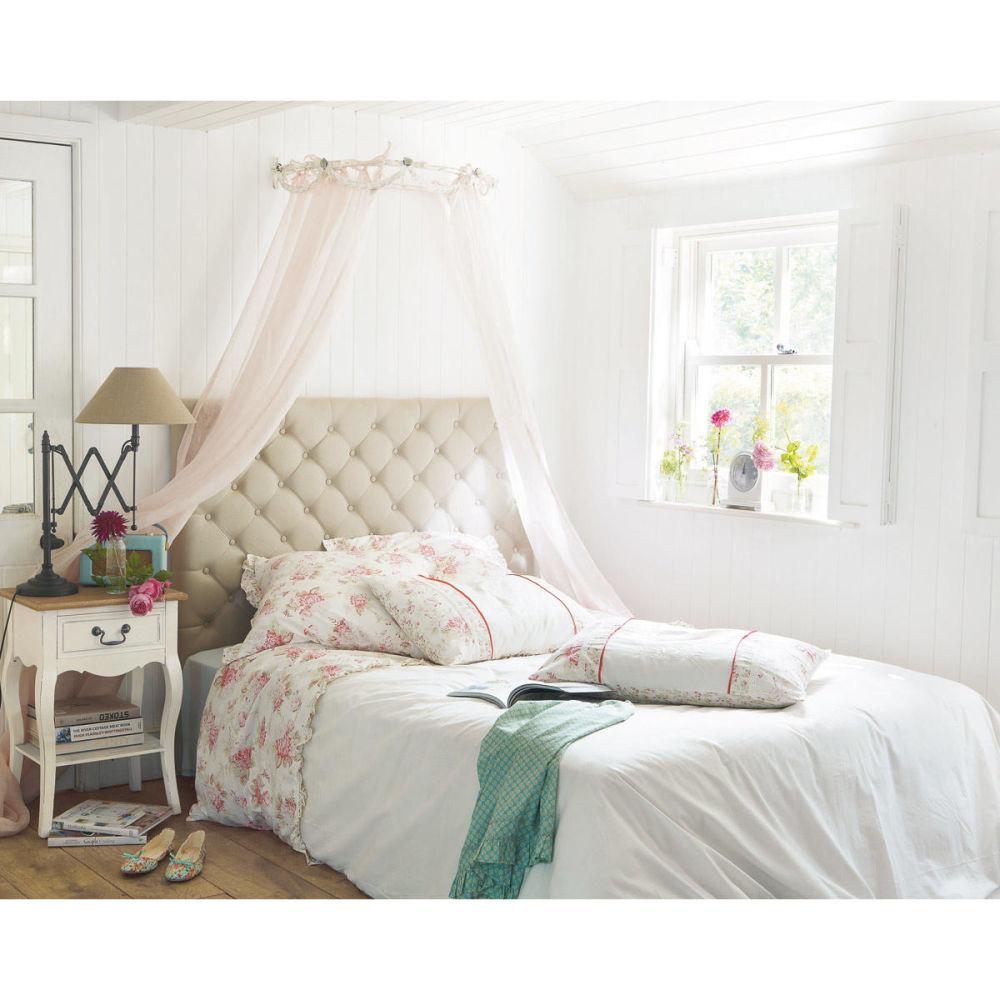 Tête de lit capitonnée vintage en lin L 140 cm