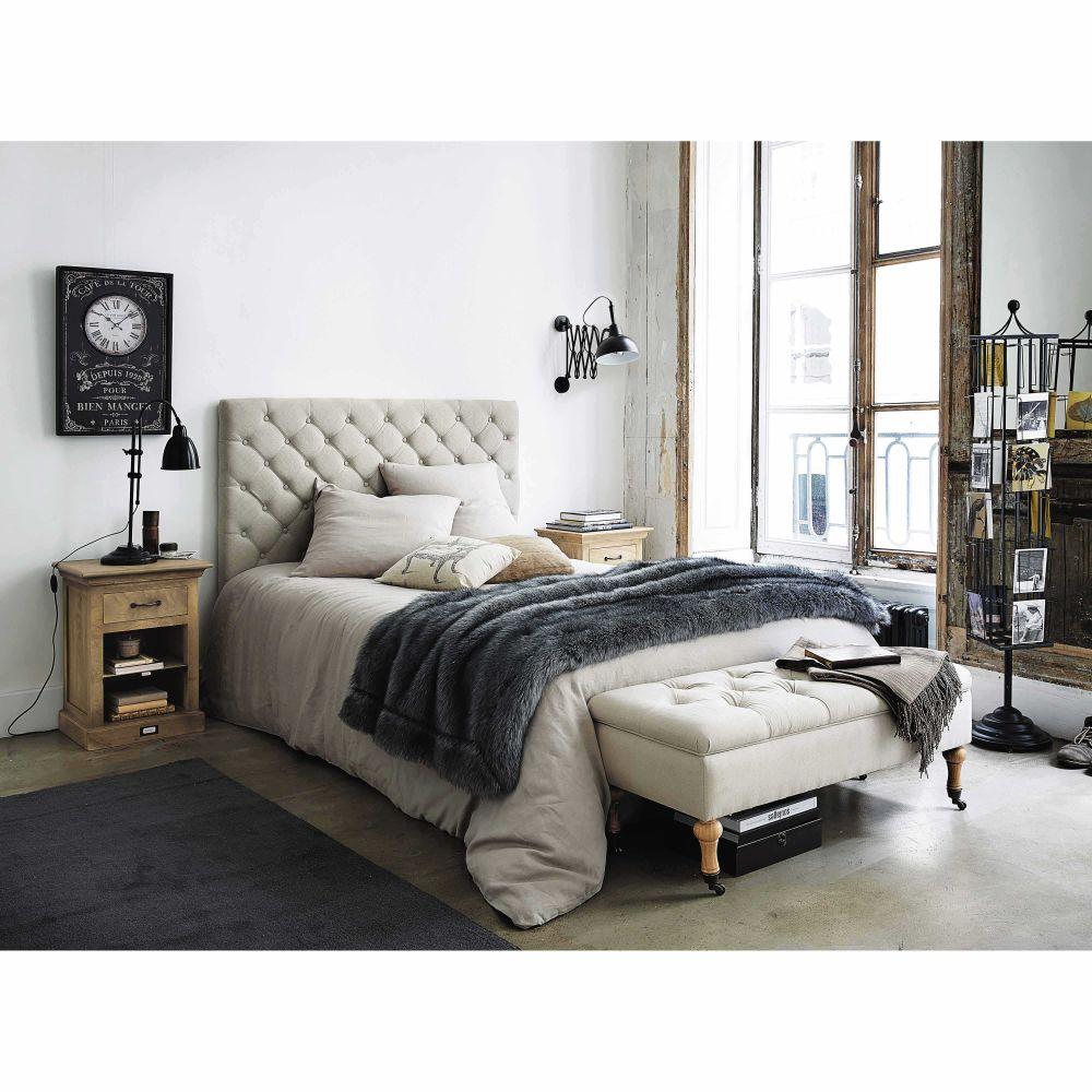 T te de lit capitonn e vintage en lin l 140 cm - Tete de lit capitonnee maison du monde ...