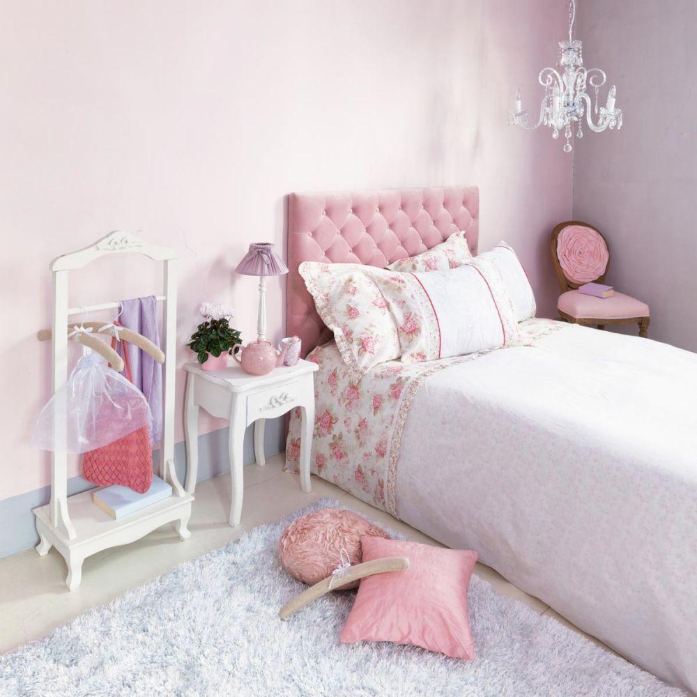 Tête de lit capitonnée vintage en velours rose L 142 cm