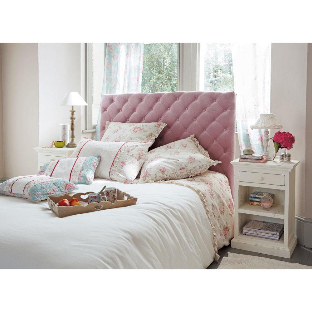 t te de lit capitonn e vintage en velours rose l 142 cm. Black Bedroom Furniture Sets. Home Design Ideas