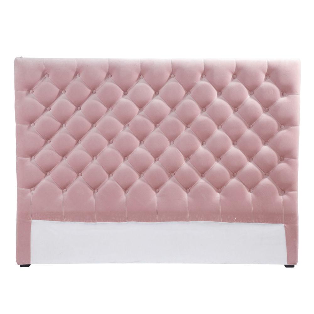 T te de lit capitonn e vintage en velours rose l 142 cm chesterfield maison - Tete de lit capitonne pas cher ...
