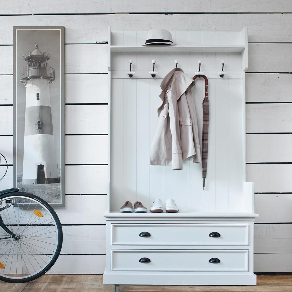 Meuble d 39 entr e avec 5 pat res en bois blanc l 110 cm for Meuble maison