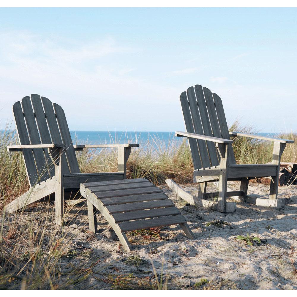 Chaise longue en acacia gris e l 72 cm ontario maisons for Chaise longue de jardin bois