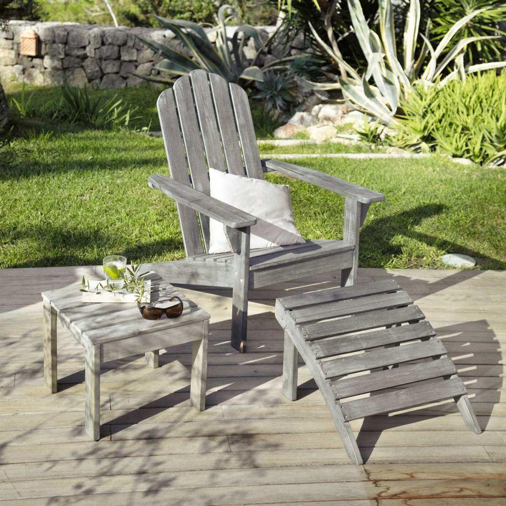Chaise longue en acacia gris e l 72 cm ontario maisons du monde for Chaise de jardin bois