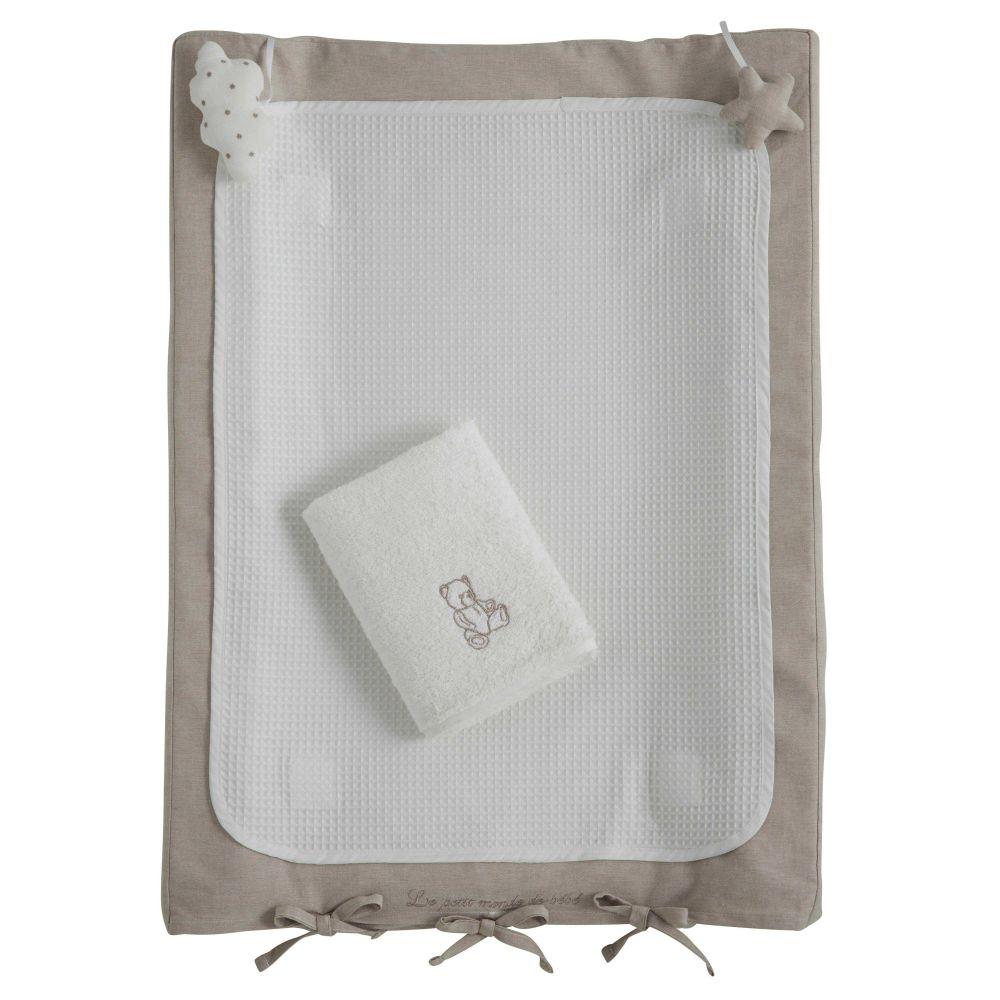 Materassino fasciatoio neonato in cotone bianco 52 x 70 cm OURSON ...