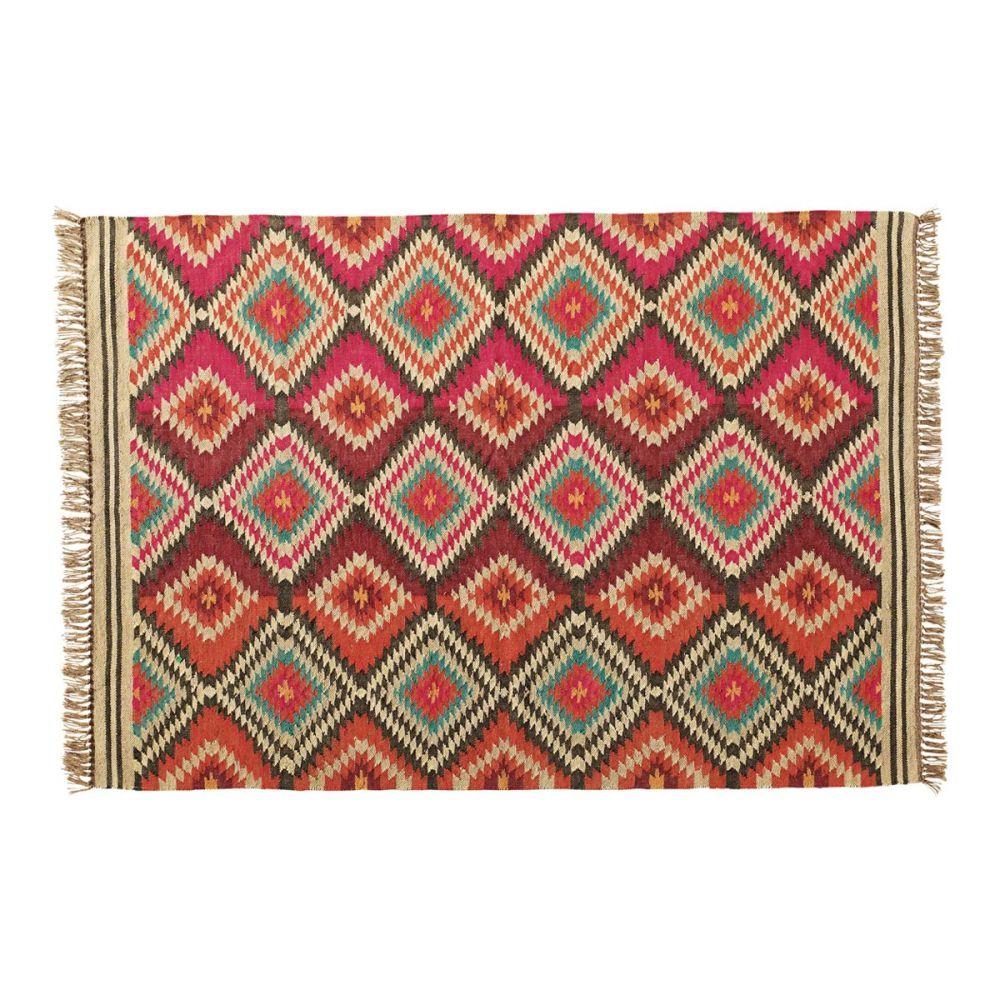 tapis tress en laine multicolore 140 x 200 cm acapulco. Black Bedroom Furniture Sets. Home Design Ideas