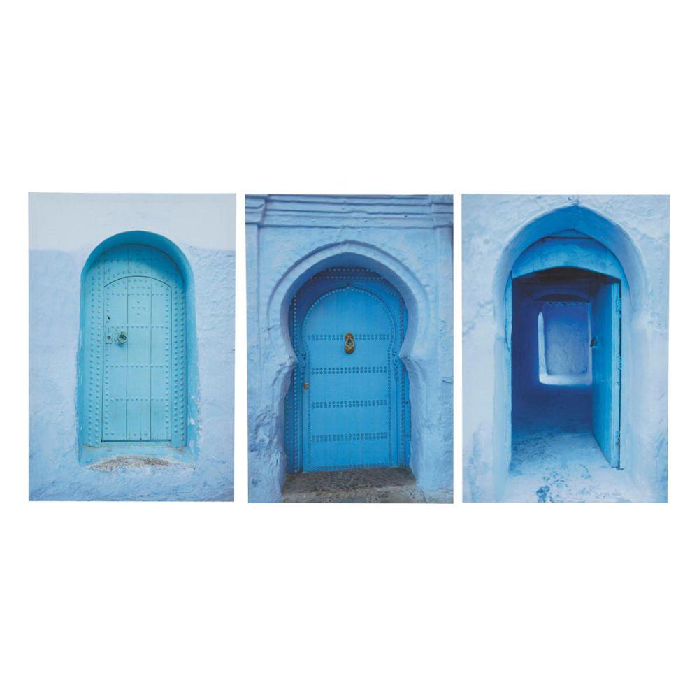 Triptyque bleue 40 x 60 cm m dina maisons du monde - Bouton de porte maison du monde ...