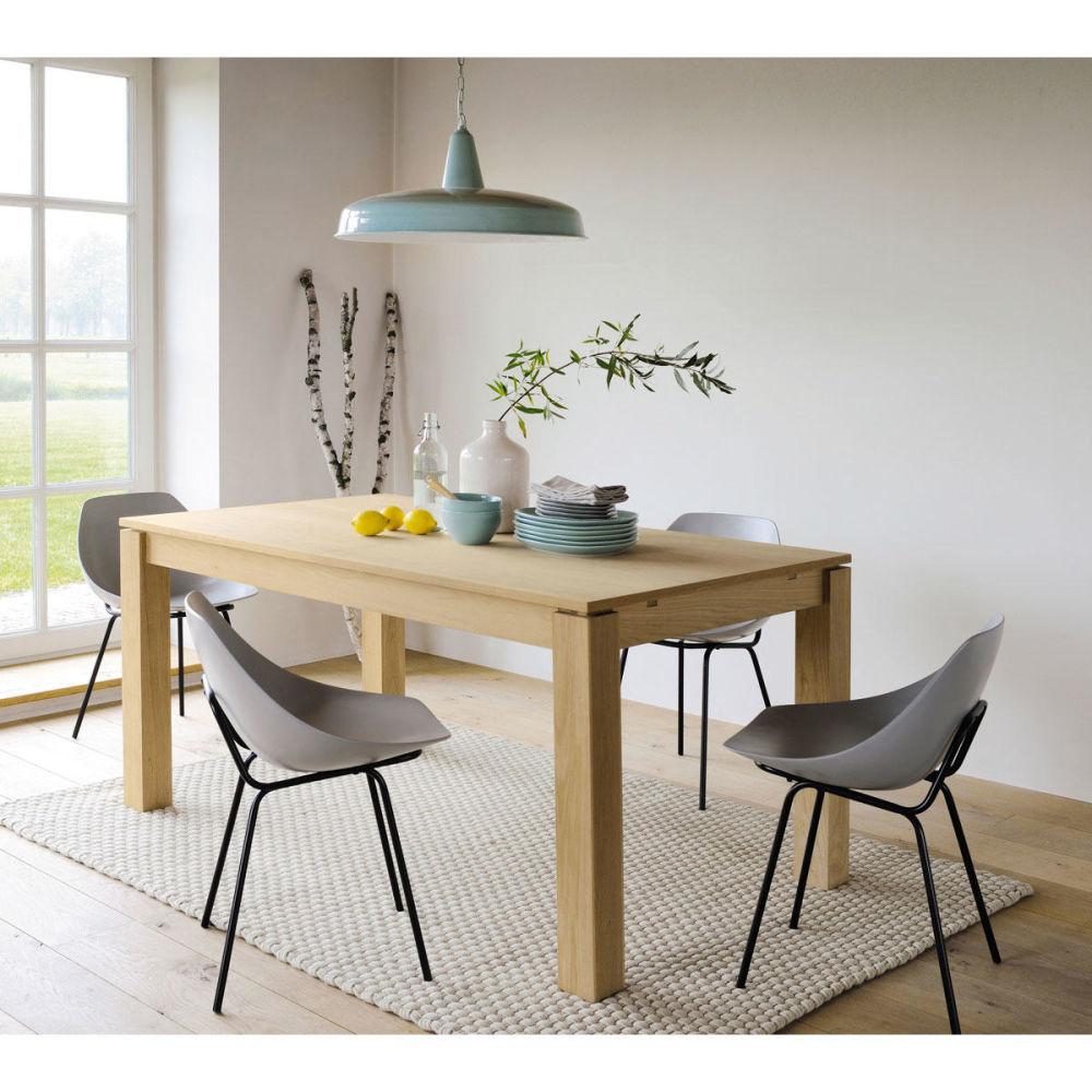Table de salle manger rallonges en bois l 240 cm for Table a manger maison du monde