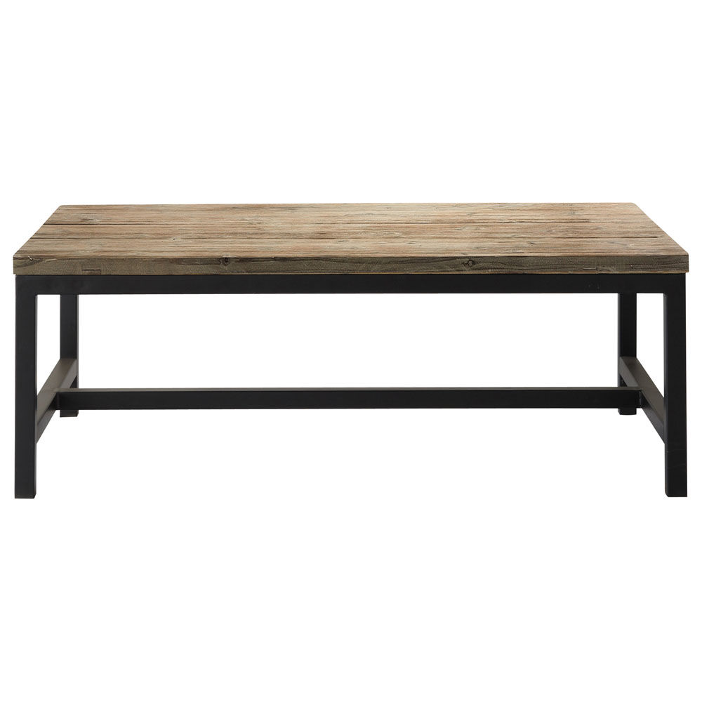 table basse indus en bois et m tal l 100 cm long island maisons du monde. Black Bedroom Furniture Sets. Home Design Ideas