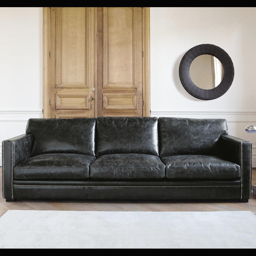 Canap 4 5 places en cuir noir dandy maisons du monde for Canape cuir style industriel