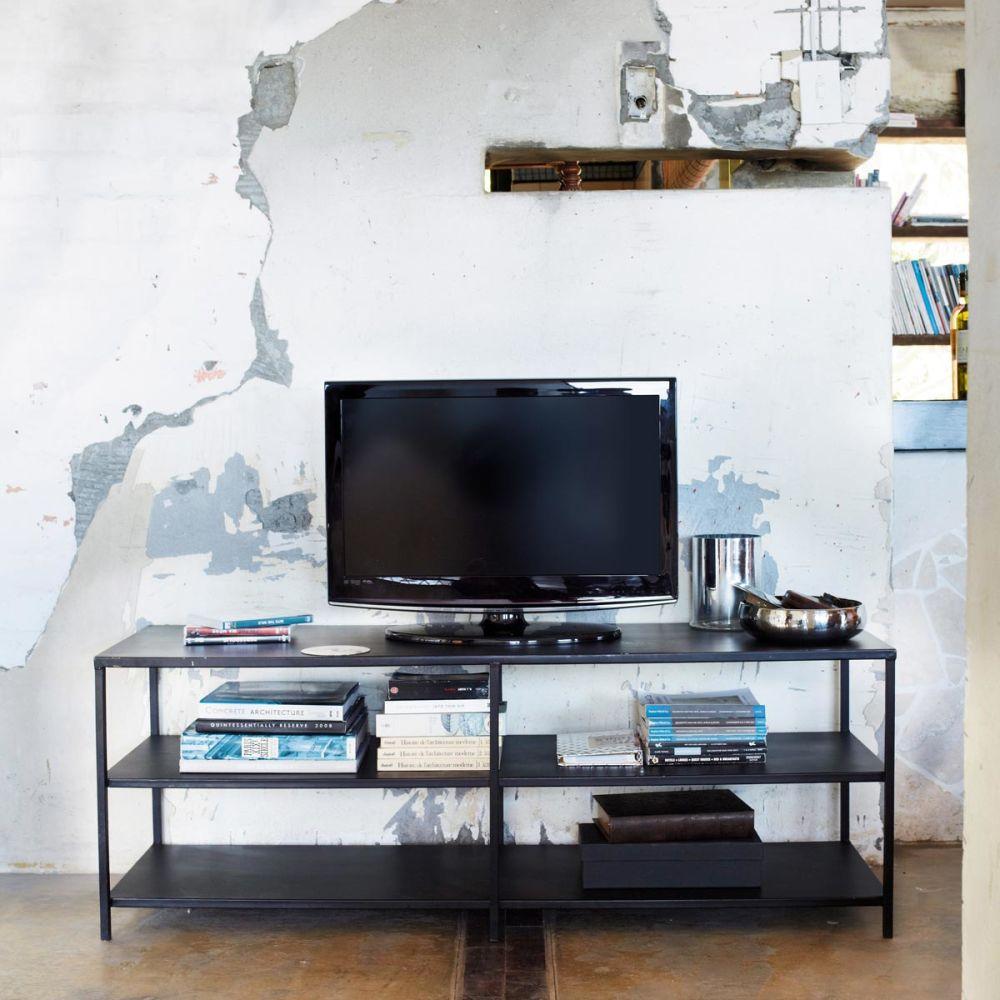 Mueble tv de estilo industrial negro edison edison - Mueble estilo industrial ...