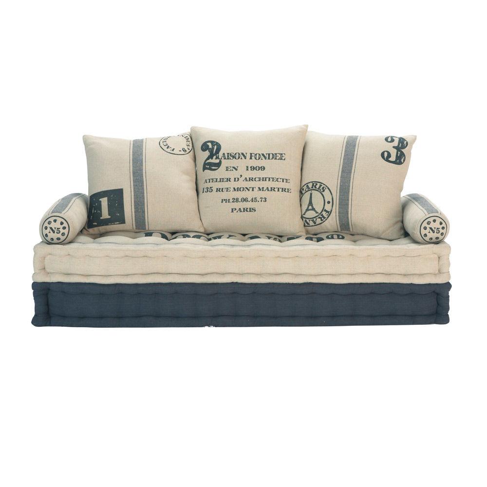 banquette 3 places en coton beige et gris factory maisons du monde. Black Bedroom Furniture Sets. Home Design Ideas