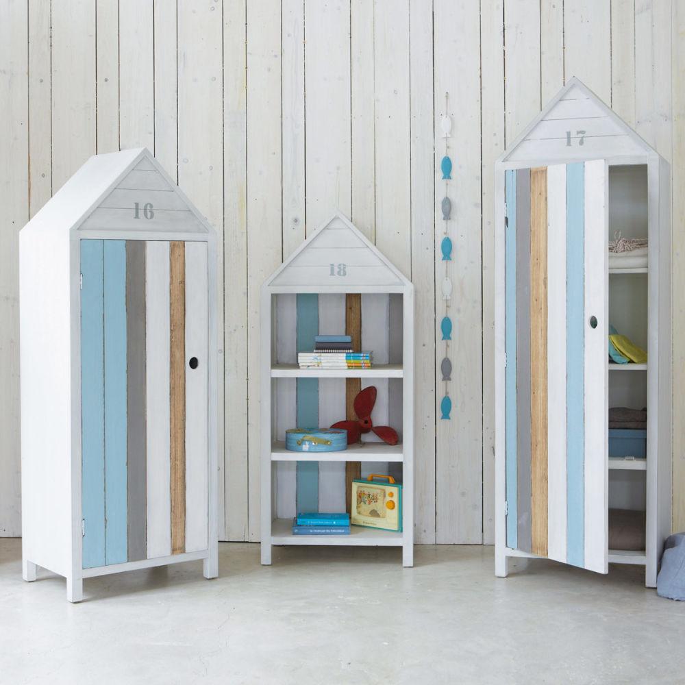 Armoire enfant cabine de plage oc an maisons du monde - Cabine de plage armoire ...