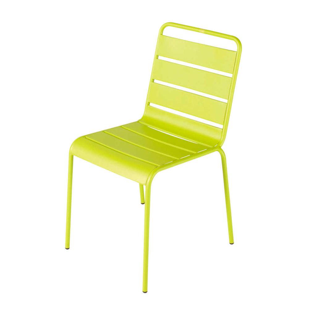 Chaise de jardin en m tal verte batignoles maisons du monde for Chaise jardin metal