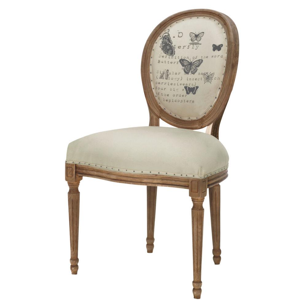Chaise lin louis maisons du monde for Housse de chaise lin