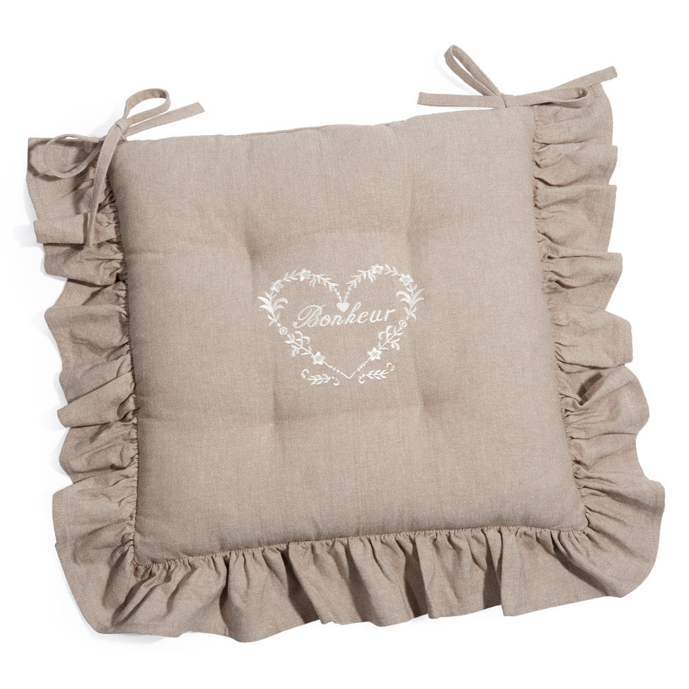 cojín para silla de algodón beis bonheur | maisons du monde