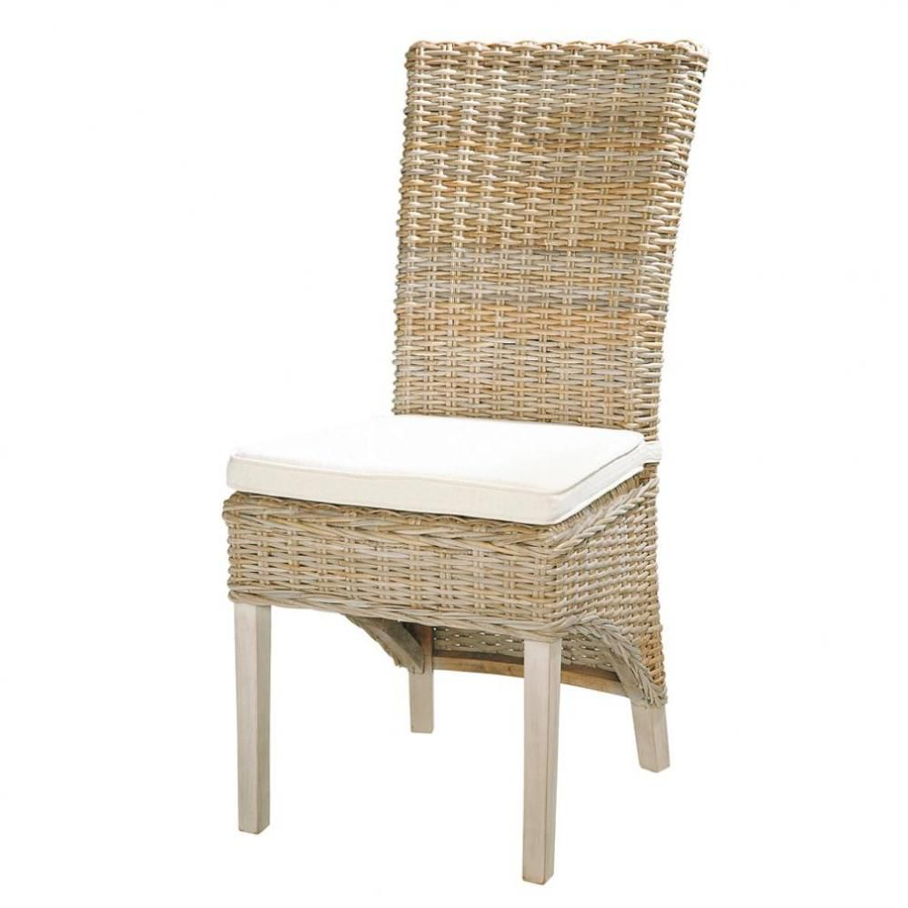 Chaise en rotin kubu et mahogany massif gris e key west for Maison du monde chaises