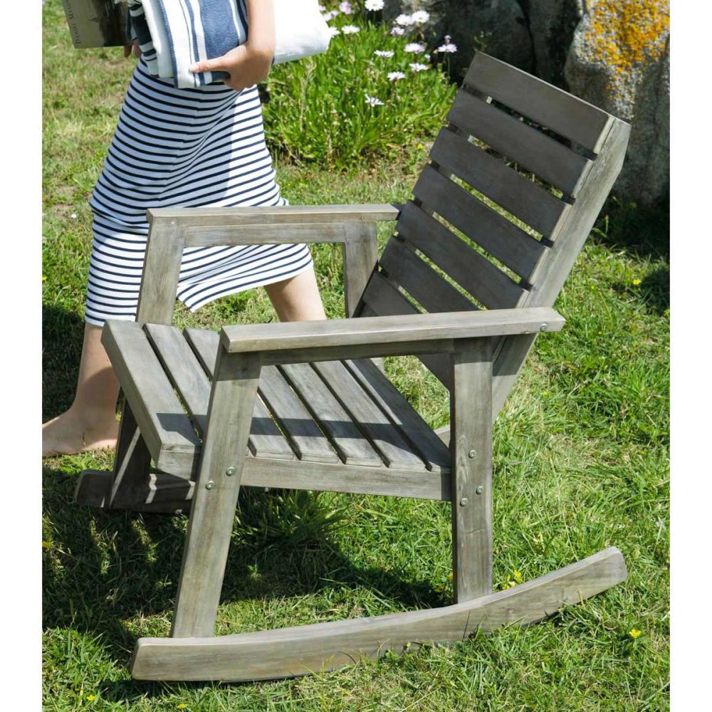 Mecedora para jard n de madera gris cea alabama alabama - Mecedoras de jardin ...