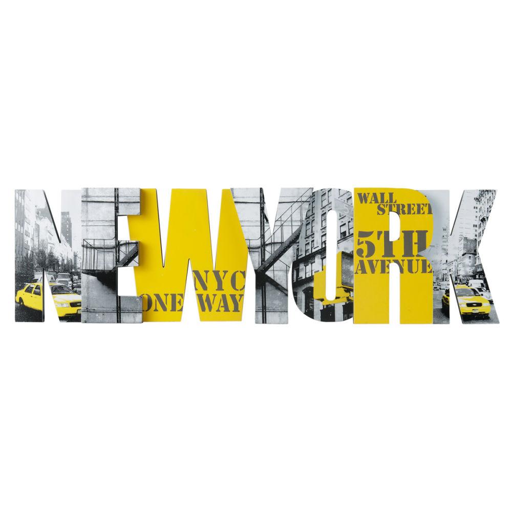 D co murale yellow big apple maisons du monde for Decoration murale new york
