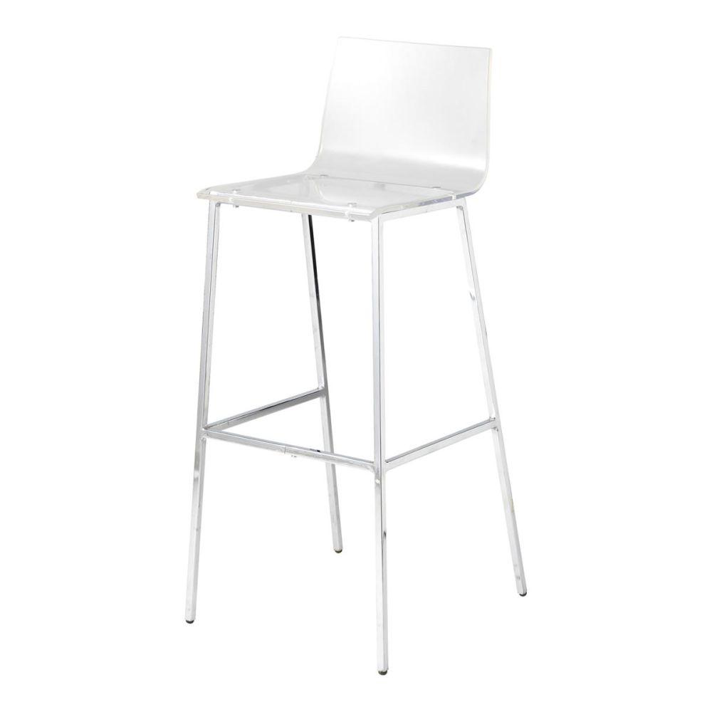 chaise de bar en plastique acrylique et métal transparente seattle ... - Chaise De Bar Transparente