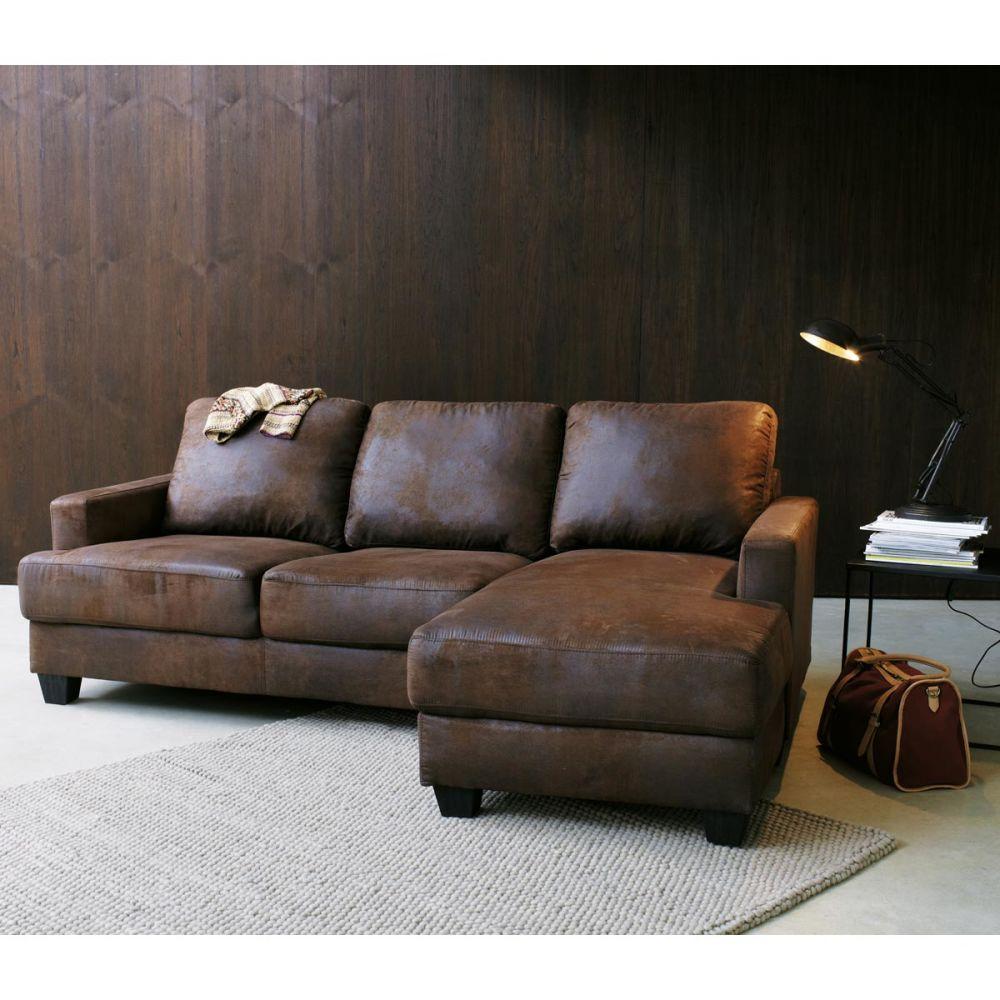 canap d 39 angle 3 4 places imitation cuir marron. Black Bedroom Furniture Sets. Home Design Ideas