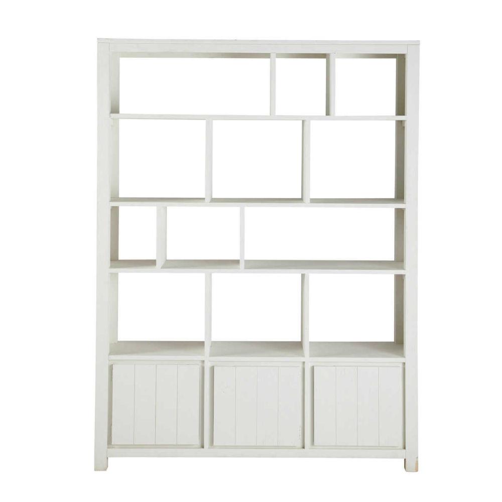 Biblioth que en bois massif blanche l 150 cm white maisons du monde - Bibliotheque d angle blanche ...