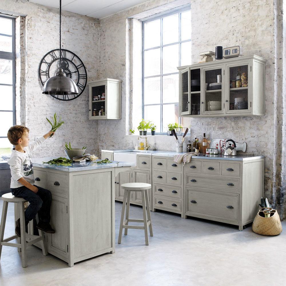 Cuisine l ment mural 60 ouverture droite zinc for Meuble zinc maison du monde