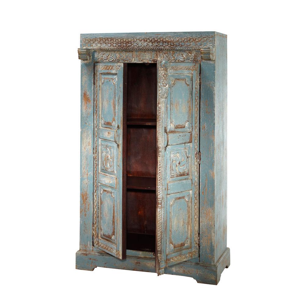 Armoire indienne en manguier bleue effet vieilli l 88 cm indira maisons du - Maison du monde armoire ...